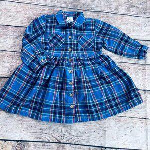 Vintage Baby Gap 24m plaid flannel dress +bow